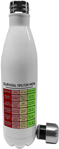 750ml Survival Tips for Men - Stainless Steel Vacuum Insulated Water Bottle